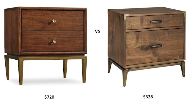 Modern Walnut and Brass Nightstand