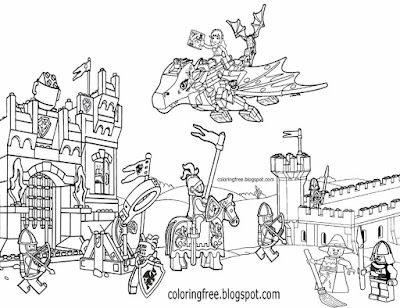 Free activity complex artwork printable medieval drawing Lego city castle coloring pages for teens