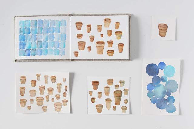 sketchbook, watercolor sketchbook, watercolor sketches, paint swatches, watercolor swatches, Anne Butera, My Giant Strawberry