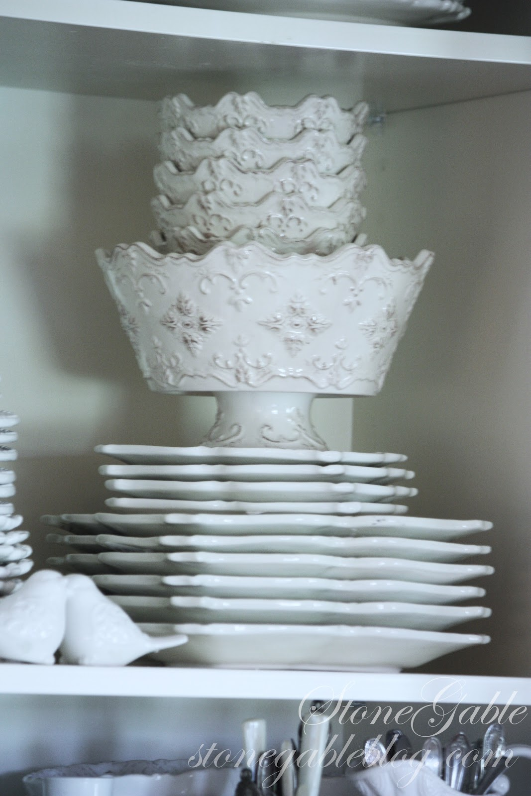 White Dishes In The Little Cupboard Stonegable