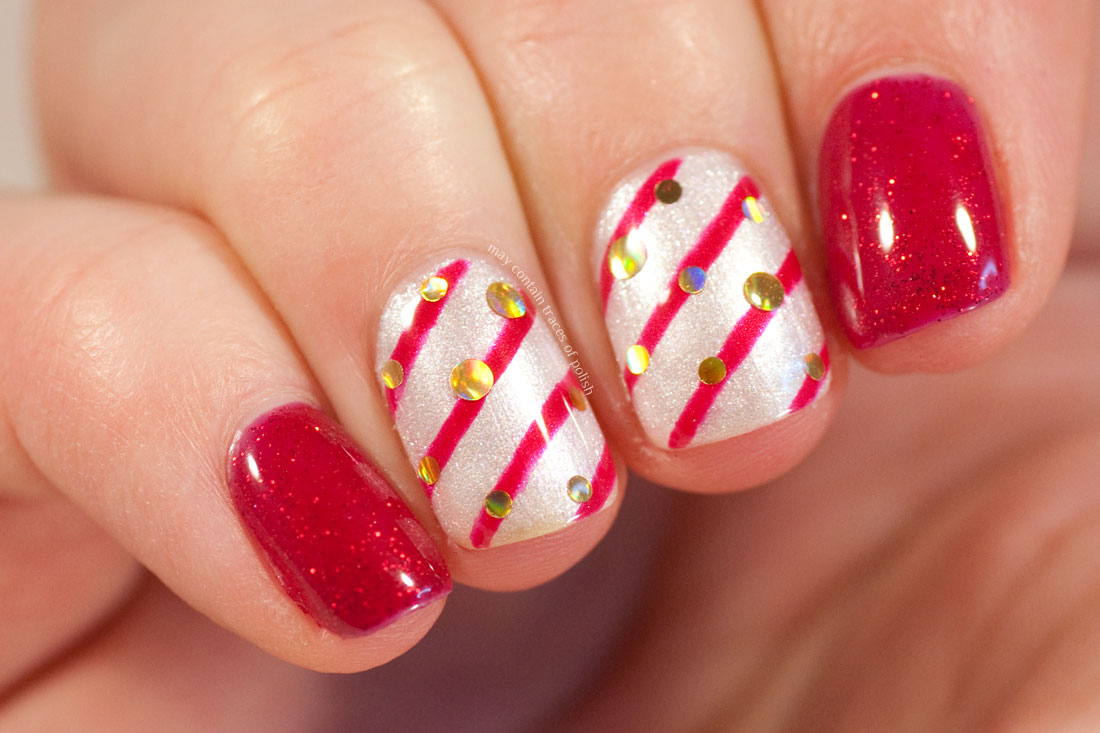 Candy Cane Gel Nails with Madam Glam Shimmer White and Madam Glam Firefly