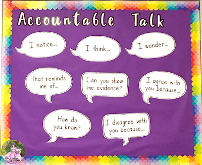 Image of accountable talk posters on a bulletin board.