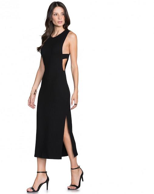 vestido malha com fenda preto