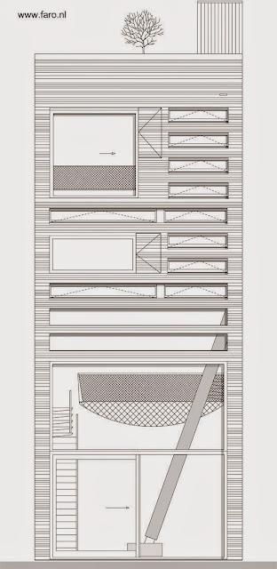 Plano arquitectónico alzada contrafachada