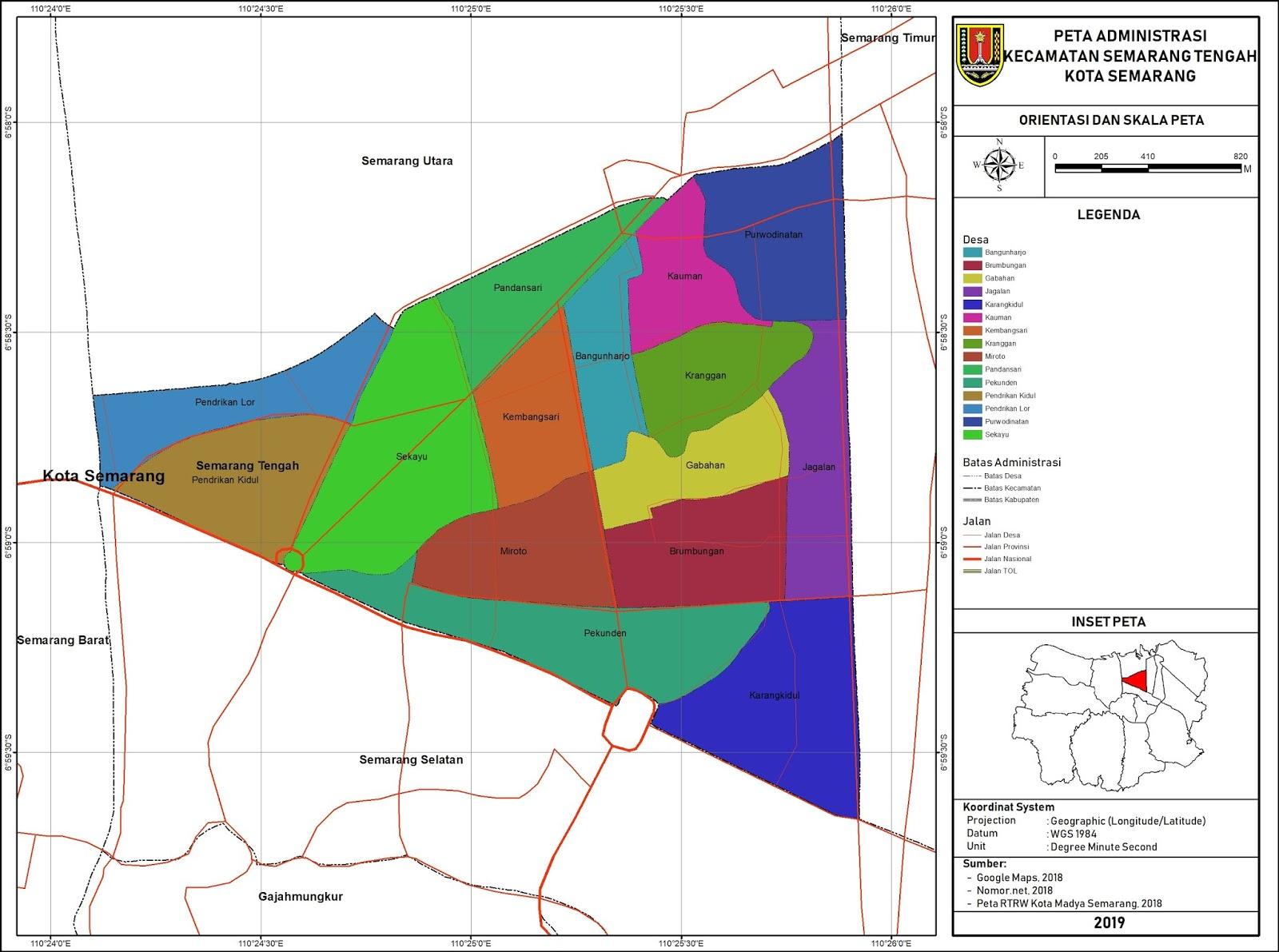 Peta Administrasi Kecamatan Semarang Tengah, Kota Semarang ...