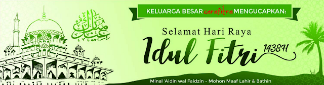 Contoh Spanduk, Banner ucapan Idul Fitri 2018 warna Hijau Pohon Kelapa
