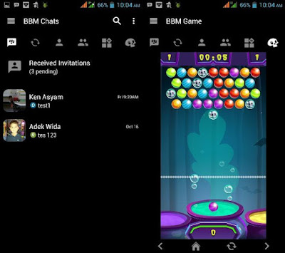 BBM Mod Black Theme Versi 3.1.0.13 with Games Bubble Shooter