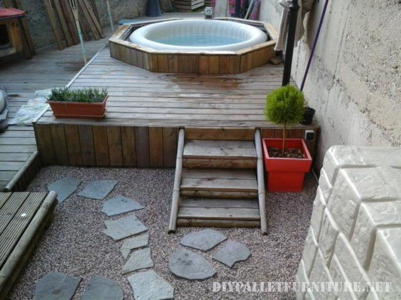 Tarimas for Jacuzzi en patios pequenos
