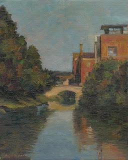 Plein air landscape alla prima painting of Dublin's Baggot Street Bridge seen from the west.