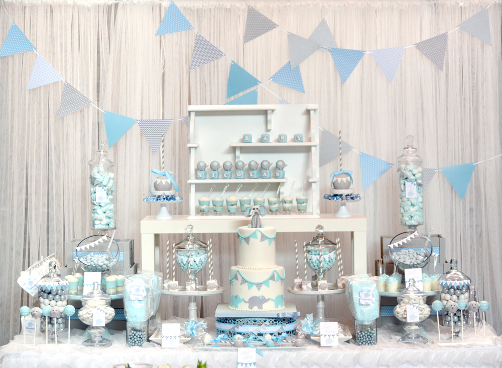 Rachel j special events baby blue and gray elephant baby for Baby shower fashion decoration