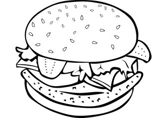 Coloring Pages for Kids: Burger Coloring Pages