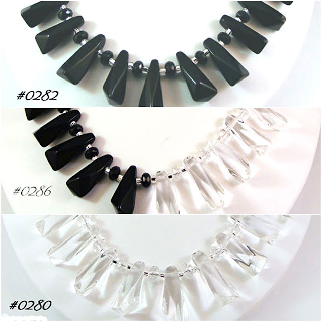Tanya Lochridge Jewelry Black & Clear Crystal Quartz Gemstone Necklaces