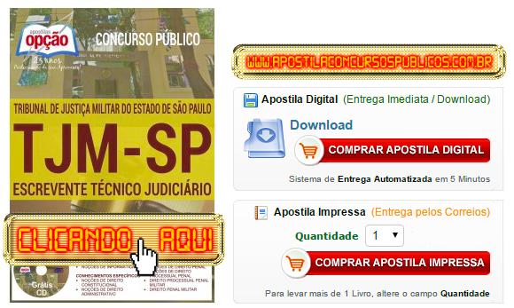Apostila Concurso TJM SP 2016 Escrevente Técnico Judiciário PDF Impressa