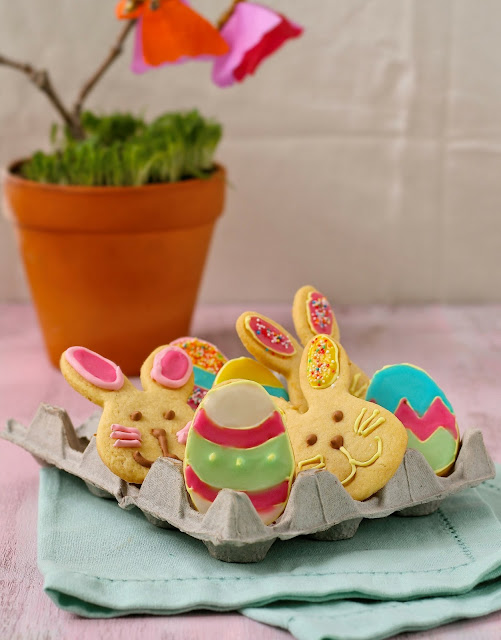 Easter egg and bunny cookies for kids.