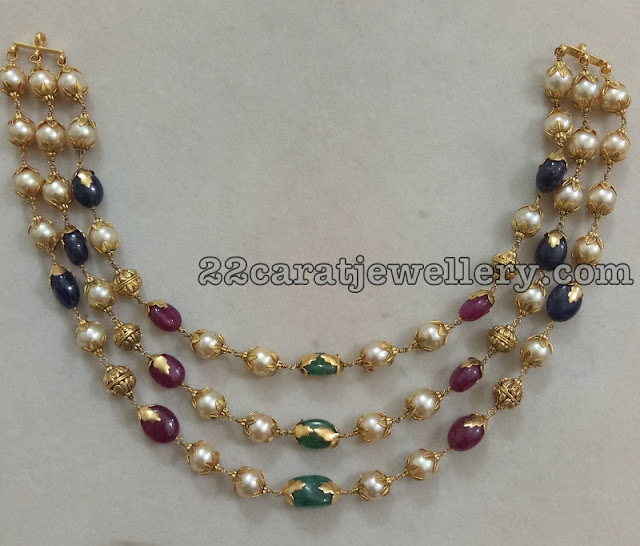 Three Layer Pearls Chain by Ganesh Jewels