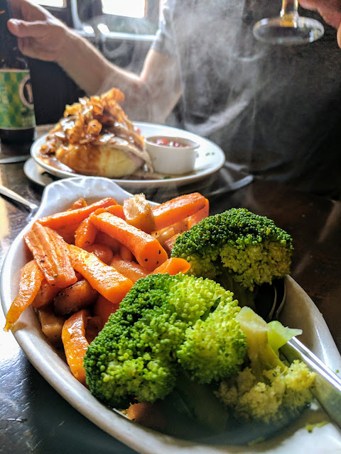 Steaming vegetables with our carvery lunch at Cawley's Guesthouse in Tubbercurry, Sligo Ireland