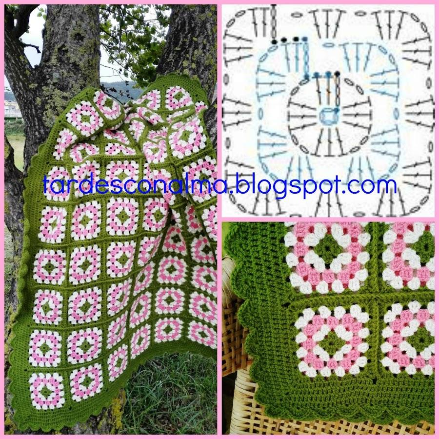 Ganchillo, crochet, lana, color verde, color crudo, color rosa, Punto Conchas, punto alto