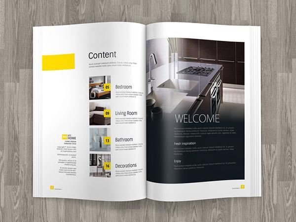 Download Gratis Mockup Majalah, Brosur, Buku, Cover - A4 Brochure Magazine Mockup