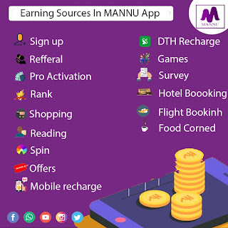 Earning sources in Mannu app,how many earning sorces in the mannu app