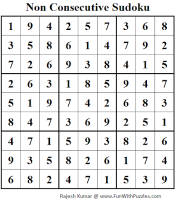 Non Consecutive Sudoku (Fun With Sudoku #64) Solution