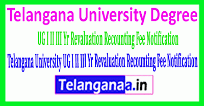 Telangana University Degree I II III Year Revaluation Recounting Fee Notification