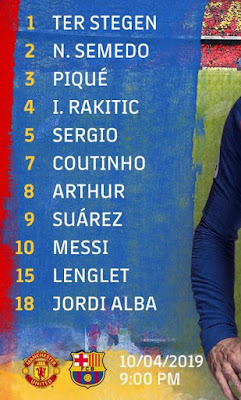 Starting 11 of FC Barcelona vs Manchester United at Old Trafford