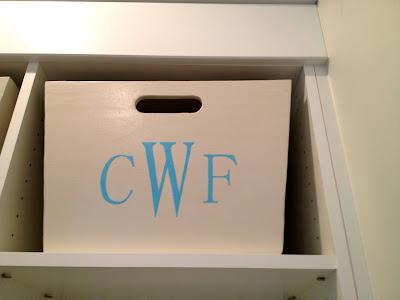 mudroom bin in locker cubby