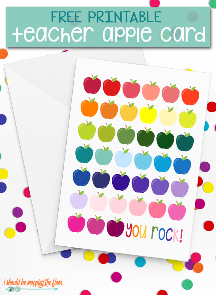 Free Printable Teacher Card | Download this colorful apple laden free printable teacher card to make your teacher SMILE! Perfect any time of the year.