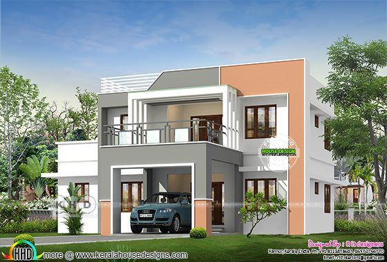 Modern house front view rendering