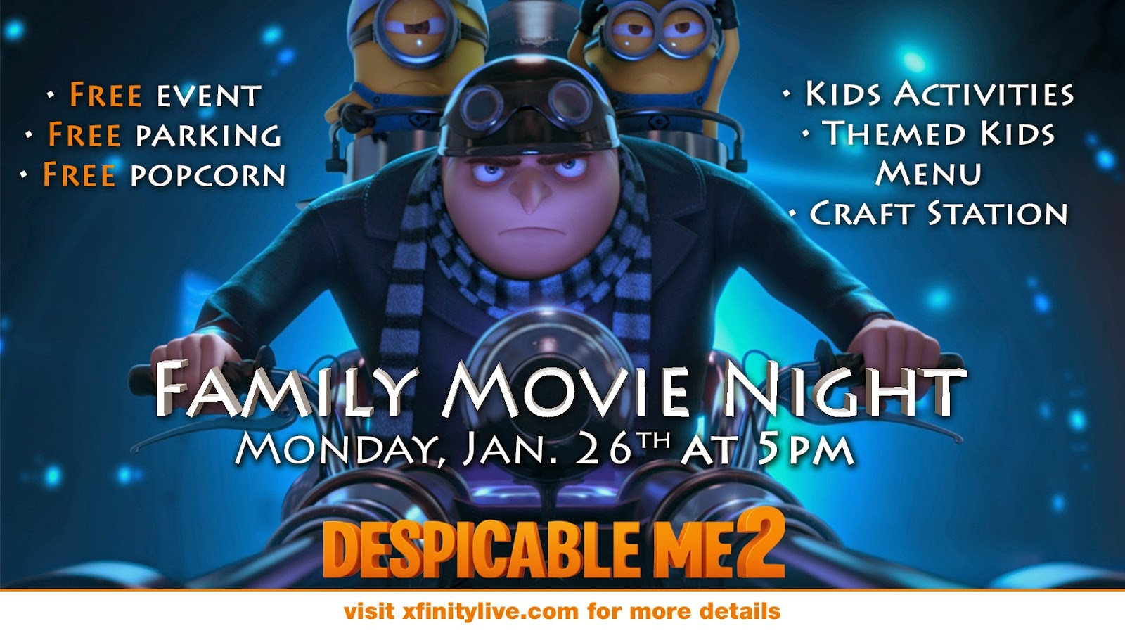 Fun things to do with kids cancelled family movie night at xfinity live - Despicable me xfinity ...