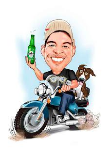 caricatura motociclista