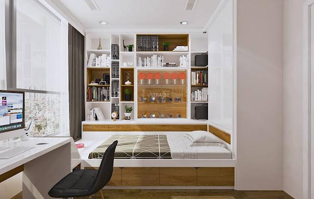 Mẫu thiết kế phòng ngủ 2 căn góc cửa sổ view thoáng