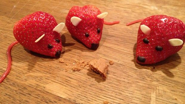 animal figure made out of  strawberry