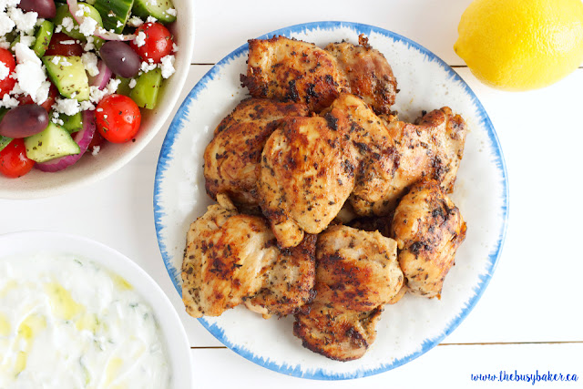 Easy Greek Chicken Souvlaki www.thebusybaker.ca