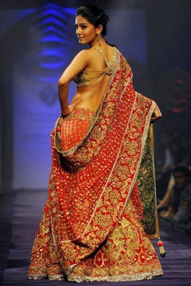 Amrita Rao backless in a Bridal Lehenga