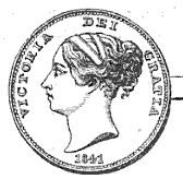 1841 Victoria Penny, showing the Queen's head with hair in a knot and bandeau or fillet
