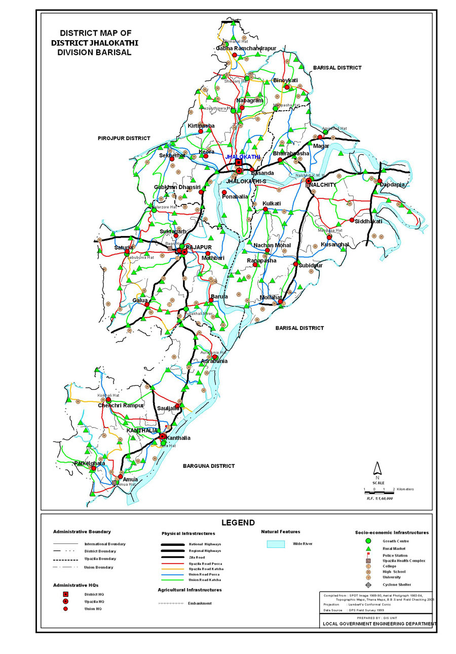 Jhalokathi District Map Bangladesh