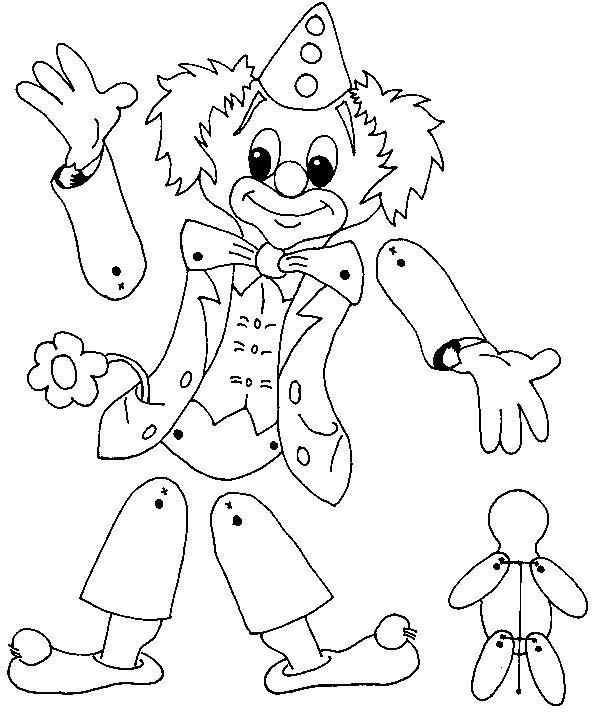 marioneta payaso colorear