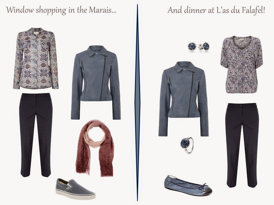 two outfits for a long weekend in Paris, including a blue suede motorcycle jacket and navy capris