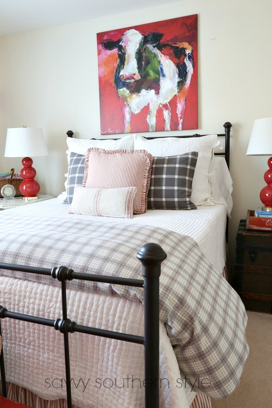 Savvy southern style red and gray farmhouse guestroom for Farmhouse guest bedroom