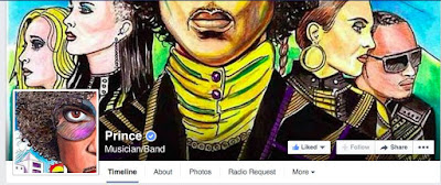 Screen grab From Prince's Official Facebook Page on 16th November 2014.  Hand Drawn Art Illustrations created by SpencerJ. Derry