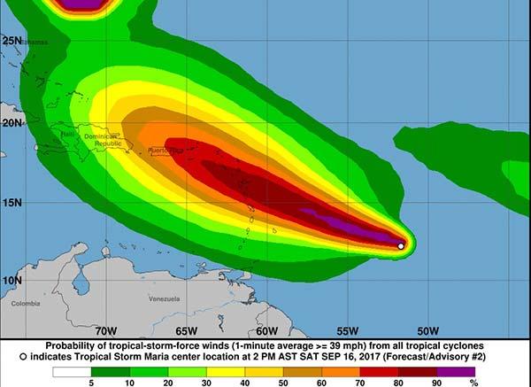 Recorrido previsto Tormenta Tropical María  por el atlántico