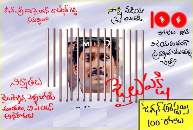 YS Jagan-100 Days in Jail cartoons ~ Telugu Jokes Telugu Cartons