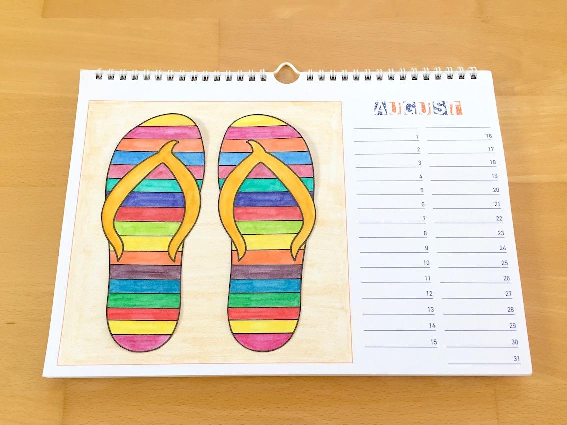 Materialwiese werken bastelkalender august - Kalender selber machen ideen ...