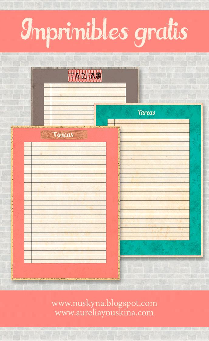 Imprimibles gratis organización.Papeles para tareas descargar gratis y muchos más imprimibles para organización.