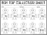Box Top Collection Sheet, Box Top Robot