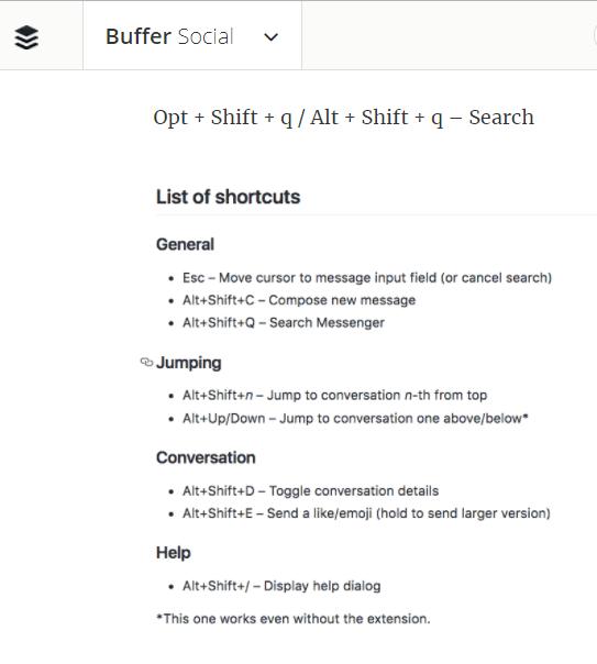 messanger keyboard shortcuts