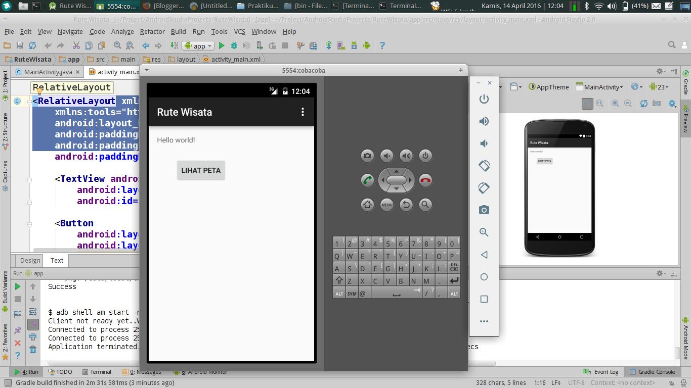 Persiapan Pemrograman Android Di Linux Menggunakan Studio Software Pemograman Handphone 6 Uji Coba