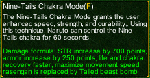 naruto castle defense 6.0 naruto Nine-Tails Chakra Mode detail