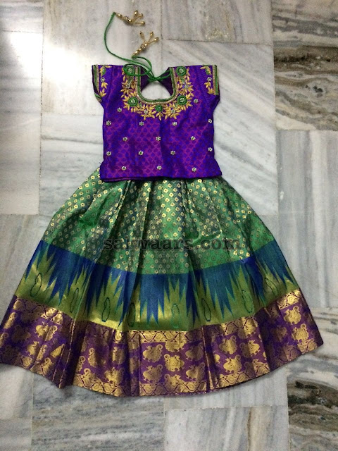 Kanchi Pattu Lehenga with Purple Blouse